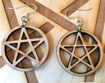 Pentagram Wooden Earring - Alder Wood - Sacred Geometry - Wood Cut Earrings - Sterling Silver