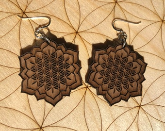 Flower of Life Lotus Wooden Earrings - Walnut Wood - Sacred Geometry - Wood Cut Earrings - Sterling Silver