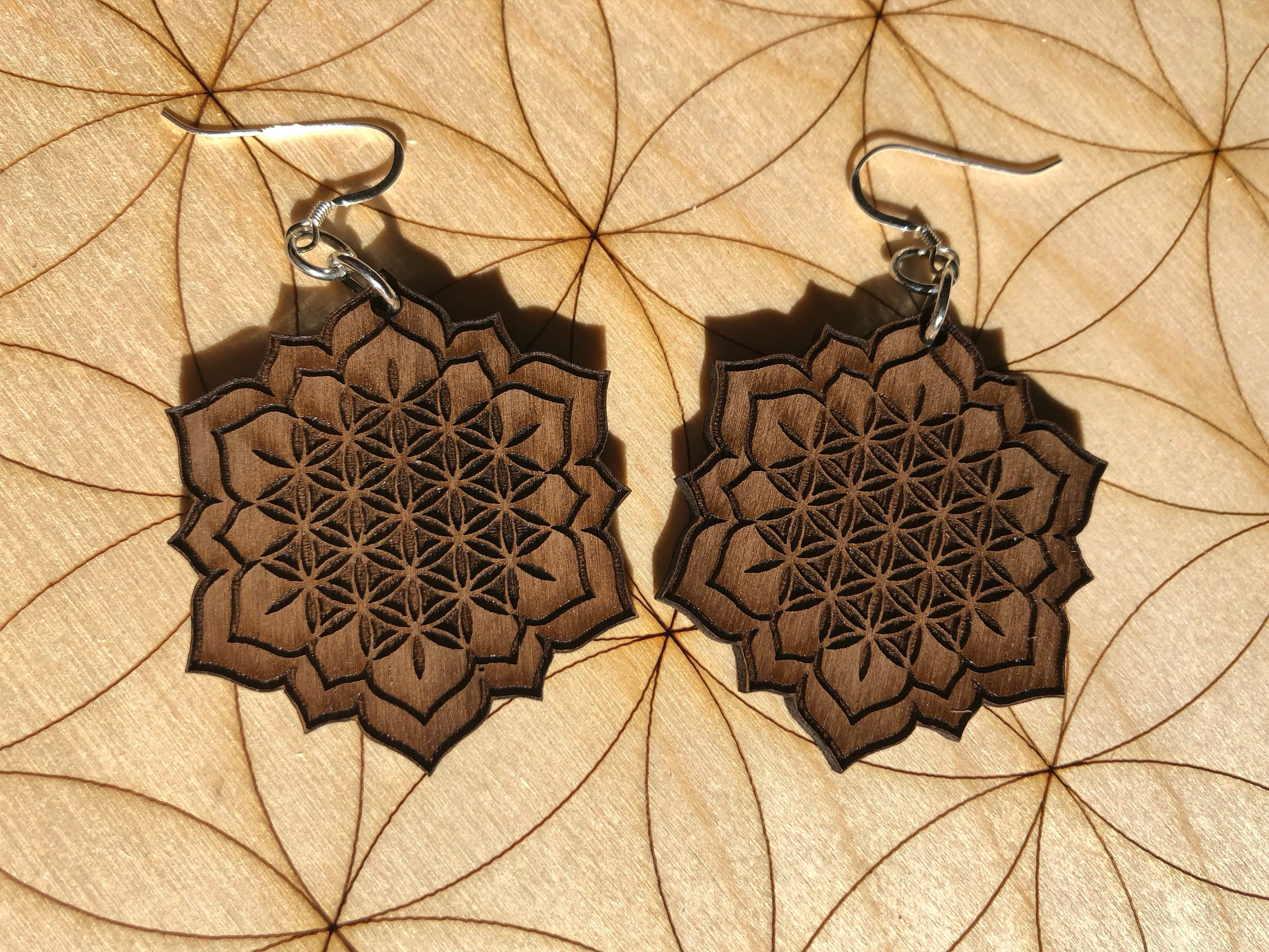 Flower Of Life Lotus Wooden Earrings Walnut Wood Sacred Etsy