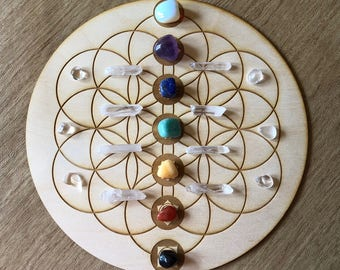 Flower of Life Chakras Crystal Grid   - Chakras Crystal Grid - Chakras Wood Crystal Grid - Chakra Altar Decoration - Wood Crystal Grid