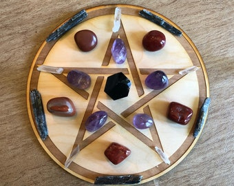 Pentagram Crystal Grid - Wood Pentagram Crystal Grid - 3, 6, 9, or 12 Inches - Wooden Crystal Grid - Sacred Geometry - Wood Crystal Grid