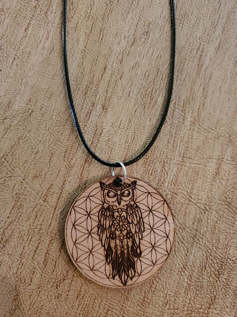 Owl Dreamcatcher Flower of Life Pendant  Alder Wood  Sacred image 0