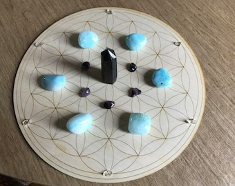 Crystal Grid - Flower of Life - 3, 6, 9, or 12 Inches - Wooden Crystal Grid - Sacred Geometry - Wood Crystal Grid - Flower of Life Grid