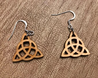 Triquetra Wooden Earrings -  Natural Birch Stained Natural