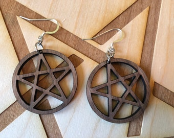 Pentagram Wooden Earring - Walnut Wood - Sacred Geometry - Wood Cut Earrings - Sterling Silver
