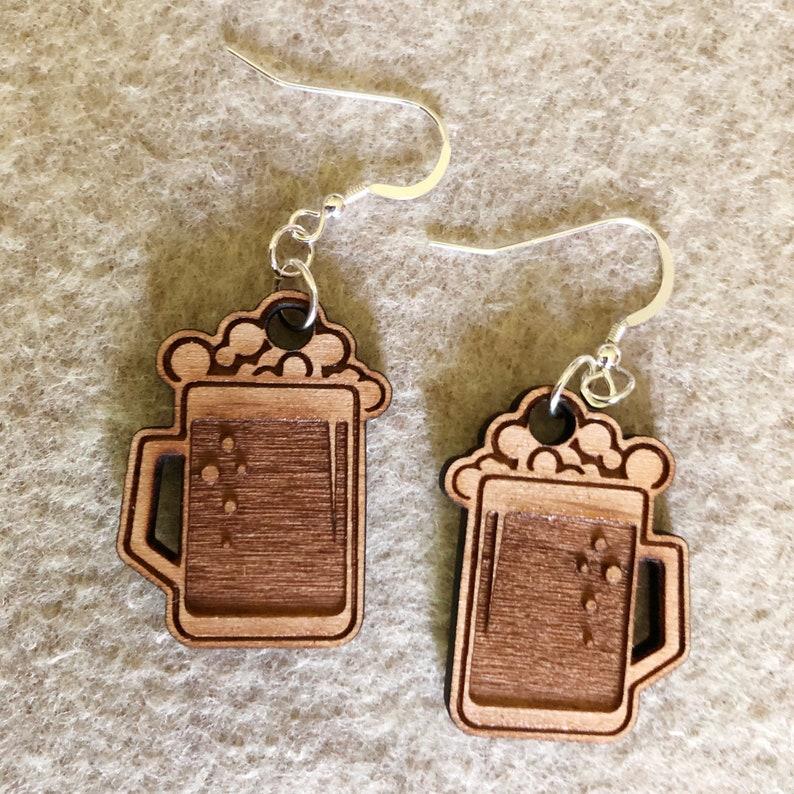 Beer Mug Earrings  Wood Earrings  Beer Earrings image 0
