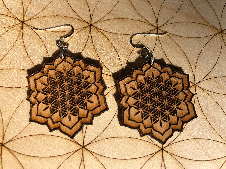 Flower Of Life Lotus Wooden Earring Alder Wood Sacred