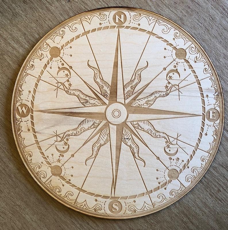 Compass Crystal Grid  Wall Art  Altar Decoration image 0