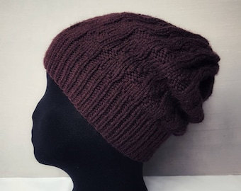 Knit merino wool hat knitted beanie womens purple burgundy slouchy elongated hat handknit winter hats