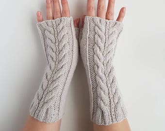 Knit grey fingerless gloves, handknit cable armwarmers, knitted handwarmers, winter gloves, womens mittens, light grey wristwarmers