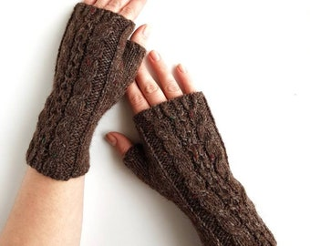 Knit brown armwarmers, handknit handwarmers, fingerless mitts, wool gloves, gloves for women, winter gloves