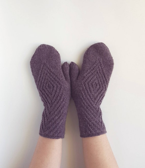 Well Fitting Hand Knitted Long Wrist Warmers with Thumb Soft Comfortable Acrylic Fingerless Gloves Warm Mittens in Purple Rainbow