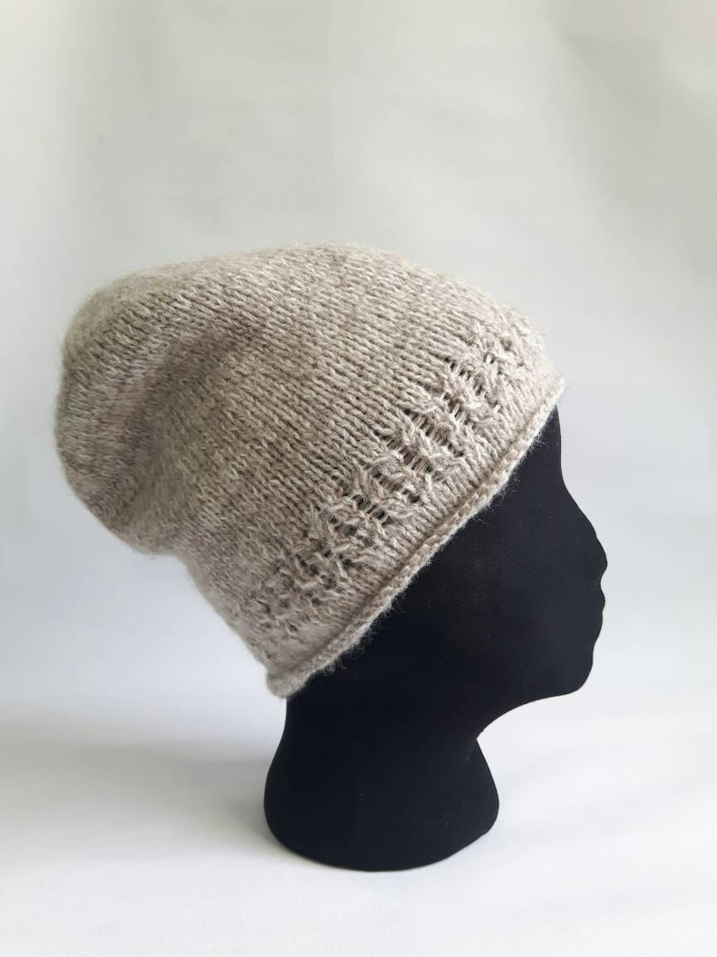 df1dbb761af Hand knit beanie wool beanie roll edge beanie knitted hat