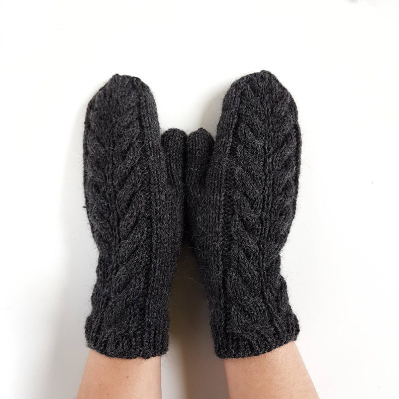 b76a4d7d3 Knit gloves grey alpaca wool knitted mittens handknit womens | Etsy