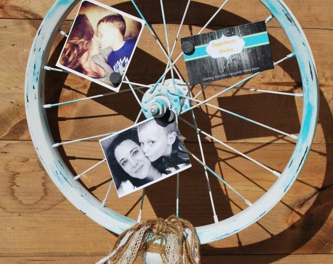 """Featured listing image: Bicycle Wheel Photo Display Wood Stand, Shabby Chic, Country, Farmhouse, Wedding, Bride, Christmas, 16"""" Wheel by Pepperberry Market"""