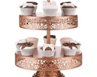 2 Tier Dessert Stand, Reversible Trays, Rose Gold, Wedding, Birthday, Princess Party, Cake Stand by Pepperberry Market