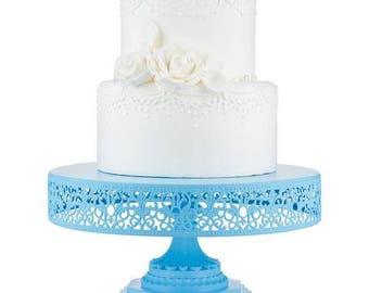 "Metal Trim Cake Stand, Blue, Wedding, Birthday, Princess Party, 12"" Dessert Stand by Pepperberry Market"