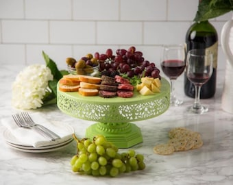 """Metal Trim Cake Stand, Green, Wedding, Birthday, Princess Party, 12"""" Dessert Stand by Pepperberry Market"""