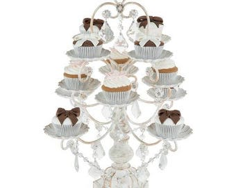 Chandelier Cupcake Stand with Glass Crystals, Crystal Draped, White Washed, Wedding, Birthday, Princess Party by Pepperberry Market