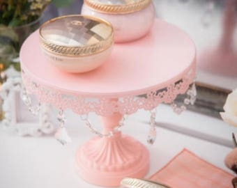 Cake Stand with Glass Crystals, Crystal Draped, Pink, Wedding, Birthday, Princess Party, Gender Reveal, Dessert Stand by Pepperberry Market