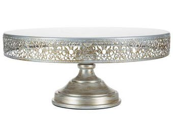 """Metal Trim Cake Stand, Silver, Wedding, Birthday, Princess Party, 14"""" Dessert Stand by Pepperberry Market"""