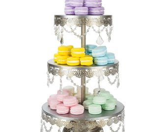 3 Tier Dessert Stand with Glass Crystals, Crystal Draped, Silver, Wedding, Birthday, Princess Party, Cake Stand by Pepperberry Market
