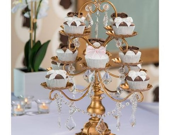 Chandelier Cupcake Stand with Glass Crystals, Crystal Draped, Gold, Wedding, Birthday, Princess Party, Cake Stand by Pepperberry Market