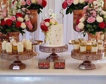 """Metal Trim Cake Stand, Rose Gold, Wedding, Birthday, Princess Party, 16"""" Dessert Stand by Pepperberry Market"""