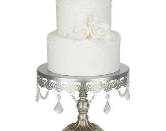 Cake Stand with Glass Crystals, Crystal Draped, Silver, Wedding, Birthday, Princess Party, Gender Reveal by Pepperberry Market