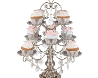 Chandelier Cupcake Stand with Glass Crystals, Crystal Draped, Silver, Wedding, Birthday, Princess Party, Cake Stand by Pepperberry Market