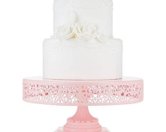 """Metal Trim Cake Stand, Pink, Wedding, Birthday, Princess Party, 12"""" Dessert Stand by Pepperberry Market"""