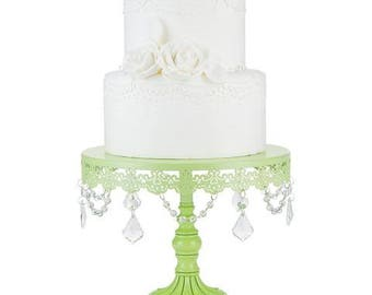 Cake Stand with Glass Crystals, Crystal Draped, Green, Wedding, Birthday, Princess Party, Gender Reveal, Dessert Stand by Pepperberry Market