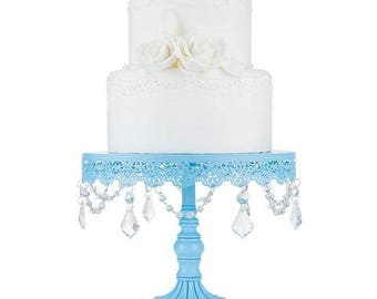 Cake Stand with Glass Crystals, Crystal Draped, Blue, Wedding, Birthday, Princess Party, Gender Reveal, Dessert Stand by Pepperberry Market