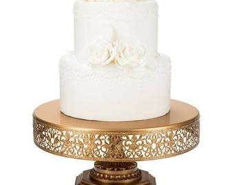 """Metal Trim Cake Stand, Gold, Wedding, Birthday, Princess Party, 12"""" Dessert Stand by Pepperberry Market"""