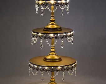 3-Piece LED Cake Stand Set, Lighted Cake Stand, Crystal Draped, Gold, Wedding, Birthday, Princess Party, Cake Stand by Pepperberry Market