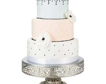 """Metal Trim Cake Stand, Silver, Wedding, Birthday, Princess Party, 12"""" Dessert Stand by Pepperberry Market"""