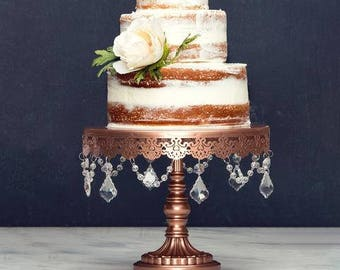 Cake Stand with Glass Crystals, Crystal Draped, Rose Gold, Wedding, Birthday, Princess Party, Gender Reveal by Pepperberry Market