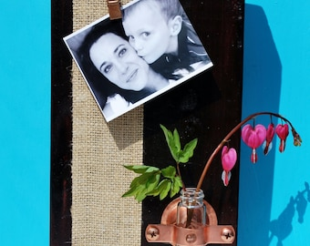 Rustic Photo Block Frame and Vase, Bud Vase, Tube Vase, Test Tube, Photo Block, Picture Holder, Picture Display by Pepperberry Market