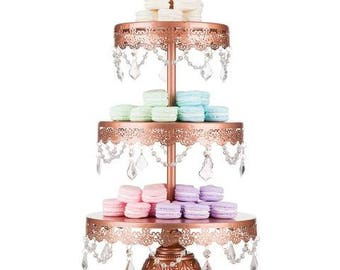 3 Tier Dessert Stand with Glass Crystals, Crystal Draped, Rose Gold, Wedding, Birthday, Princess Party, Cake Stand by Pepperberry Market