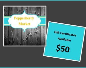 Digital Gift certificate, Gift card, instant download gift card, voucher gift, Christmas gift, birthday gift For PepperberryMarket