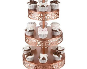 3 Tier Dessert Stand, Reversible Trays, Rose Gold, Wedding, Birthday, Princess Party, Cake Stand by Pepperberry Market