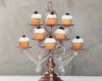 Chandelier Cupcake Stand with Glass Crystals, Crystal Draped, Rose Gold, Wedding, Birthday, Princess Party, Cake Stand by Pepperberry Market