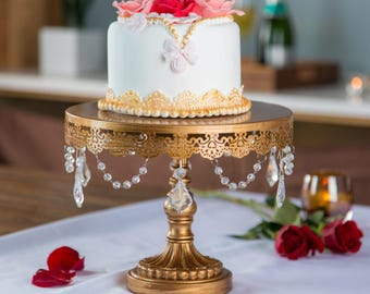 Cake Stand with Glass Crystals, Crystal Draped, Gold, Wedding, Birthday, Princess Party, Gender Reveal, Dessert Stand by Pepperberry Market