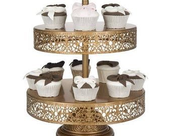 2 Tier Dessert Stand, Reversible Trays, Gold, Wedding, Birthday, Princess Party, Cake Stand by Pepperberry Market