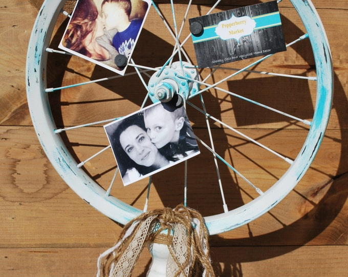 "Featured listing image: Bicycle Wheel Photo Display Wood Stand, Shabby Chic, Country, Farmhouse, Wedding, Bride, Christmas, 16"" Wheel by Pepperberry Market"
