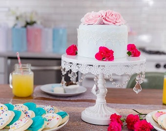 Cake Stand with Glass Crystals, Crystal Draped, White, Wedding, Birthday, Princess Party, Gender Reveal, Dessert Stand by Pepperberry Market