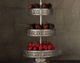 3 Tier Dessert Stand, Reversible Trays, Silver, Wedding, Birthday, Princess Party, Cake Stand by Pepperberry Market