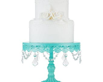 Cake Stand with Glass Crystals, Crystal Draped, Teal, Wedding, Birthday, Princess Party, Gender Reveal by Pepperberry Market