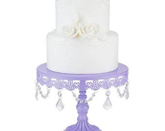 Cake Stand with Glass Crystals, Crystal Draped, Purple, Wedding, Birthday, Princess Party, Gender Reveal by Pepperberry Market
