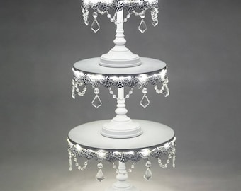 3-Piece LED Cake Stand Set, Lighted Cake Stand, Crystal Draped, White, Wedding, Birthday, Princess Party, Cake Stand by Pepperberry Market